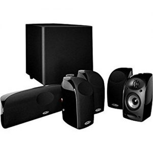 Polk Audio Blackstone TL1600 Compact Home Theater System   Total 6 Items – 4 TL1 Satellite Speakers, 1 Center Channel & an 8″ Powered Subwoofer   Bass Port   Detachable Grilles Included