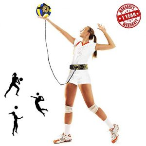 Portzon Volleyball Training Equipment Aid, Solo Soccer Trainer, Soccer Training Equipment, Solo Practice Trainer for Serving, Setting, Spiking& Arm Swing, Great Gift for Beginners & Pro