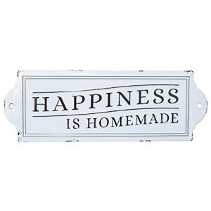 """Barnyard Designs Happiness is Homemade Enamel Wall Sign Rustic Vintage Inspirational Quote Home Decor 24"""" x 8.25"""""""