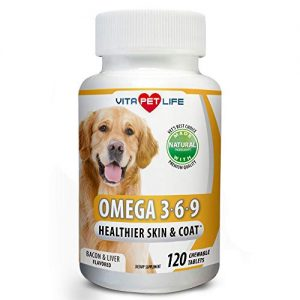 Omega 3 6 9 for Dogs, Fish Oil, Flaxseed Oil, DHA EPA Fatty Acids, Brain Health, Shiny Coat, Itchy and Dry Skin Relief, Immune System Support, Anti Inflammatory,120 Natural Chew-able Tablets.