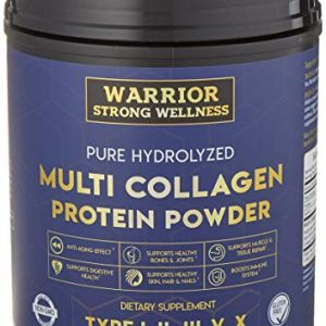 Premium Hydrolyzed Multi Collagen Protein Powder by Warrior Strong Wellness: High Quality Blend of Grass Fed Beef, Cage Free Chicken, Wild Fish, Eggshell, Keto Friendly; Providing Type I,II,III,V