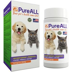 All-in-One Dog & Cat Probiotics, Hip Joint Pain Relief Formula, Vitamins, Digestive Enzymes, Antioxidants, Minerals, Glucosamine, MSM, Chondroitin, 100 Servings, 37+ Years Reputation – SIMIEN PureAll
