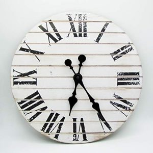 RUSTIC WALL CLOCK – CLOCKS FOR LIVING ROOM DECOR – FARMHOUSE CLOCK RUSTIC CLOCK – LARGE DECORATIVE TIME HANDS – BATTERY OPERATED NON TICKING – WOOD WALL CLOCK – ANTIQUE VINTAGE WHITE SHIPLAP