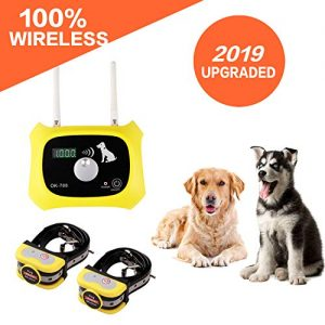 JUSTSTART Wireless Dog Fence Electric Pet Containment System, Safe Effective Anti Over Shock Fence, Adjustable Control Range Up to 1000 Feet & Display Distance, Rechargeable Waterproof Collar