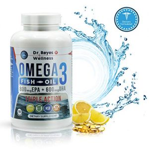 Wild Fish Oil Triple Strength up to 3000mg | 180 Capsules | Omega 3 1200mg EPA, 900mg DHA | Concentrated Liquid Potency Doctor Formulated Gelcaps | Naturals Burpless Lemon Flavored Pills | Men Women