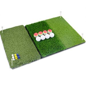Perfshot Tri-Turf 3-in-1 Golf Hitting Mat with Realistic Tee Box | Fairway | Rough for Chipping Driving Practice Training Mat 16″ 25″