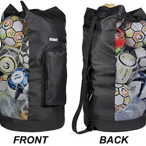 Fitdom Heavy Duty XL Soccer Mesh Equipment Ball Bag w/Adjustable Shoulder Strap Design for Coach. with an Over-Sized Front Pocket for Sporting Accessories. Best for All Outdoor & Water Gears