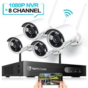 HeimVision HM241 WiFi Security Camera System, 8CH 1080P NVR 4Pcs 960P Outdoor/ Indoor WiFi Surveillance Cameras with Night Vision, Weatherproof, Motion Detection, Remote Monitoring, No Hard Drive