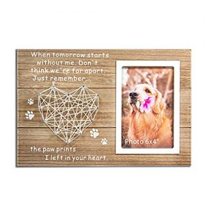 VILIGHT Dog and Cat Memorial Gifts – Paw Prints Sympathy Picture Frame for Pet Loss with Card – for 4×6 Inches Photo