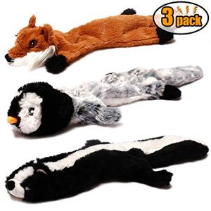 CNIMGBB No Stuffing Dog Toys with Squeakers, Durable Stuffingless Plush Squeaky Dog Chew Toy Set,Crinkle Dog Toy for Medium and Large Dogs(Squirrel Raccoon Fox Skunk and Penguin) (3 Pack)