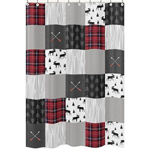Sweet Jojo Designs Grey, Black and Red Woodland Plaid and Arrow Bathroom Fabric Bath Shower Curtain for Rustic Patch Collection – Flannel Moose Gray