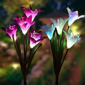 Outdoor Solar Garden Stake Lights – 2 Pack Solarmart Solar Powered Lights with 8 Lily Flower, Multi-color Changing LED Solar Stake Lights for Garden, Patio, Backyard (Purple and White)