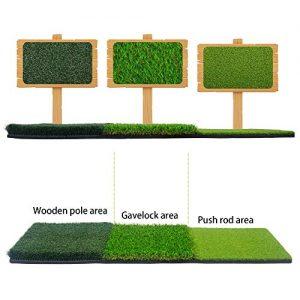 "H&B Luxuries Portable 3-in-1 Golf Hitting Mats – Turf Grass Mat 15.94""x35.35"" for Backyard Practice GFHMT32"