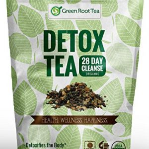 Organic Detox Tea – 28 Day Weight Loss Cleanse (56 Servings) – Liver & Skin Detox – Colon Teatox Diet Tea – Green Root Tea