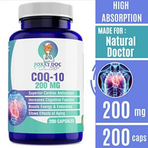 CoQ10 – Co-Enzyme Q10-200 mg – 200 Caps – Pure & High Absorption – Vegetable Capsules – Non-GM1O – 6.5 Month Supply Heart & Cellular Energy by Foxxy Doc