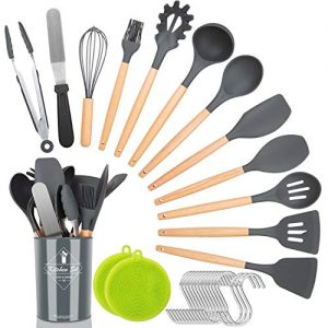 NEXGADGET Kitchen Utensil Set,30 Pcs Silicone Cooking Utensils with Natural Wooden Handles,Nonstick Cookware Utensils Kitchen Gadgets Set,Household Kitchen Tools with Holder,New Apartment Essentials