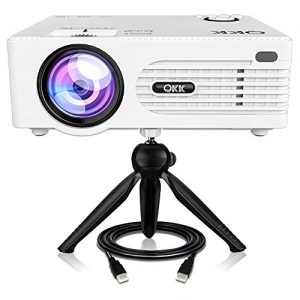 QKK [2019 Upgrade] Mini Projector [with Tripod] LED Projector Full HD 1080P Supported, 170″ Display for TV Stick, Video Game, Blue Ray DVD Player, Smartphone Home Theater Entertainment, Dual USB Port