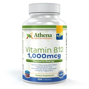 Athena – Vitamin B12 1,000mcg Chewable Tablets Supplement – Methylcobalamin – Cherry Flavor – High Potency- Suitable for Vegetarians – 100 Tablets
