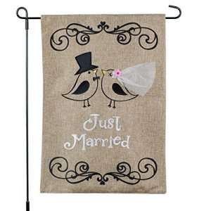 Just Married Banner, Garden Flag or Car Decoration – Bride and Groom Birds Design On Burlap Banner – 12×18 – Home Garden Flag