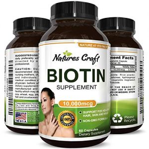 Best Biotin Pure Supplement – Natural Pills for Hair Nail and Skin Health – Potent Vitamins for Skin Care and Reduce Hair Loss – Great For Metabolism and Digestion For Men & Women by Natures Craft