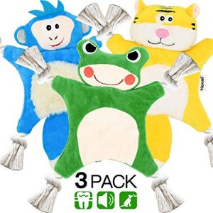 Dog Squeaky Toys for Small Dogs,Stuffless Puppy Toys with Crinkle,Puppy Chew Toys Teething,Dog Plush Toys Cotton Rope,Animal Dog Toy Pack 3 Tiger Frog Monkey Pet Toys for Dogs Indestructible