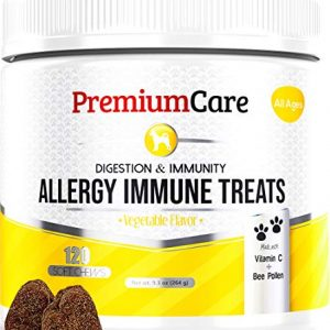Allergy Relief Immune Supplement For Dogs – Treats Seasonal & Food Allergies, Skin Itch, Hot Spots And More – Promotes Skin & Coat, Improves Digestion, & Enhances Gut Health – 120 Chew Treats
