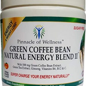 Pinnacle of Wellness Green Coffee Bean Natural Energy Blend II Powder – Citrus Orange Flavor – 30 Servings – 3.2oz (90g) – Sugar Free Drink Mix – No Artificial Flavors or Colors
