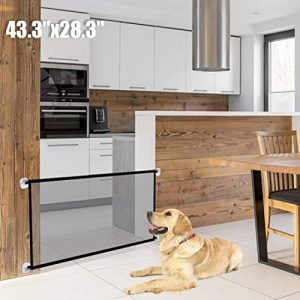 Pet Safety Gate Magic Dog Gate Magic Gate for Dog,43.3″x28.3″ Portable Mesh Folding Safety Fence,Keep Your Baby and Pets Away from Kitchen and Outdoor