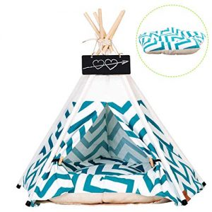 Pet Tent for Dogs Puppy Cat Bed White Canvas Dog Cute House Pet Teepee with Cushion 24inch Indoor Outdoor (Green)