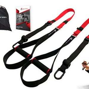 """Bodyweight Fitness Resistance Trainer Kit with Pro Straps for Door, Pull up Bar or Anchor Point. Lean, Light, Extra Durable for Complete Body Workouts. E-Book """"12 Week Program"""" (Patent Pending)"""