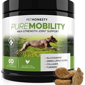 PureMobility Glucosamine for Dogs – Premium Dog Joint Supplement Support with Glucosamine, Green-Lipped Mussel, Collagen & Turmeric – Advanced Hip & Joint Chews & Pet Joint Pain Relief 60 ct