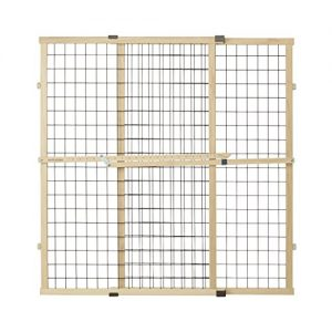 North States MyPet 37″ Tall & 48″ Wide Wire Mesh Gate: Simply Expand and Lock in Place. Pressure Mount. Fits 29.5″- 48″ Wide (37″ Tall, Sustainable Hardwood)
