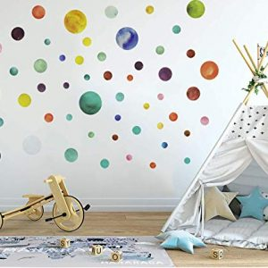 2 Sheets Assorted Size Polka Dot Wall Decals for Kids Girls and Boys Bedroom, Living Room and Nursery Room,Removable Adhesive Multicolor Wall Stickers Home Decor Safe for Wall(160 Decals in Total)