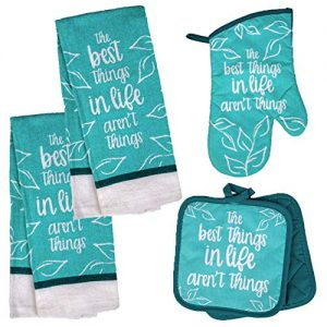 Inspirational Kitchen Towel Set with 2 Quilted Pot Holders, Oven Mitt and Dish Towel