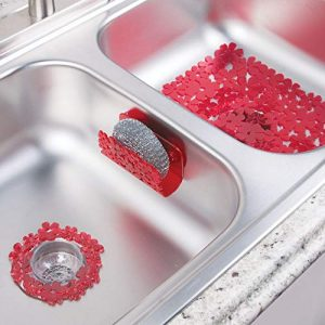 mDesign Floral Kitchen Sink Protector Mat, Sponge Holder, Drain Strainer – Set of 3, Red