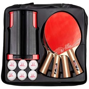 IntegraFun Pro Ping Pong Paddle Set with Ping Pong Net- Bracket Clamps,3-star Ping Pong Balls, Storage Case – Retractable Net and Post Set Adjustable to any Table – Indoor Outdoor Games for Family