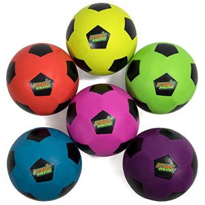 K-Roo Sports Atomic Athletics 6 Pack of Neon Rubber Playground Soccer Balls – Youth Size 4, 8″ Balls with Air Pump and Mesh Storage Bag