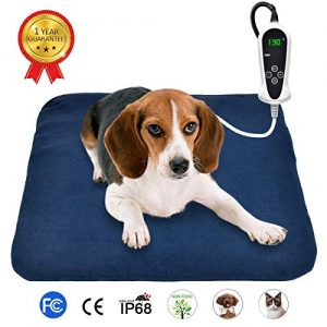 RIOGOO Pet Heating Pad, Electric Heating Pad for Dogs and Cats Indoor Warming Mat with Auto Power Off 18″ x 18″