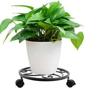 Metal Plant Caddy Heavy Duty Iron Plant Dolly on Round Rack Rustproof Sturdy Potted Plant Stand with Rolling Wheels Garden Plant Container Indoor Outdoor Planter Trolley Casters for Garden and Home