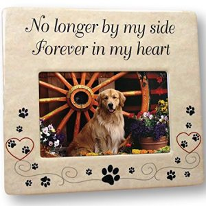 BANBERRY DESIGNS Pet Memorial Ceramic Picture Frame – No Longer by My Side Forever in My Heart – Pet Loss – Pet Photo Frame – Pet Sympathy Gift – in Memory of a Pet