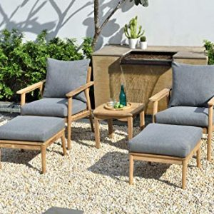 Brampton Grenoble 5-Piece Outdoor Conversation Set   Teak Wood Furniture with Cushions   Ideal for Patio and Indoors, Grey