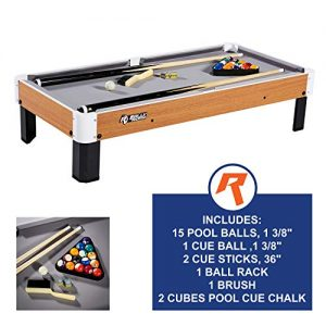 """Rally and Roar Tabletop Pool Table Set and Accessories, 40"""" x 20"""" x 9"""" – Mini, Travel-Size Billiard Tables, Balls, Cues, and Rack – Fun, Portable Family Games for Family, Parties, Camping, Road Trips"""
