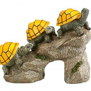 Bo-Toys Solar Powered Turtles on Log Outdoor Accent Lighting LED Garden Light Decor