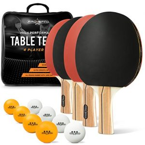 PRO SPIN Ping Pong Paddle Set – 4 Performance Paddles/Rackets, 8 Ping Pong Balls (3-Star), Premium Storage Case – for Indoor & Outdoor Tables & Games