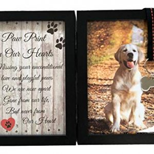 Pawprints Remembered Pet Memorial 5″x7″ Picture Frame for Dog or Cat with Ribbon and Tag – Features a Folding Photo Frame and Sympathy Poem – Loss of Pet Gift