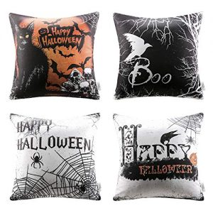 Ashler Halloween Throw Pillow Cover Scary Cat Web and Letter Set of 4 18 x 18 Inches 45 cm x 45 cm