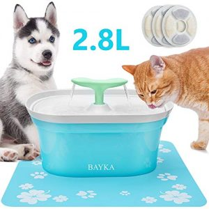 BAYKA Cat Water Fountain, 2.8L Automatic Pet Water Fountain Dog Water Dispenser with 3 Replacement Filters 1 Silicone Mat for Cats and Small to Medium Dogs