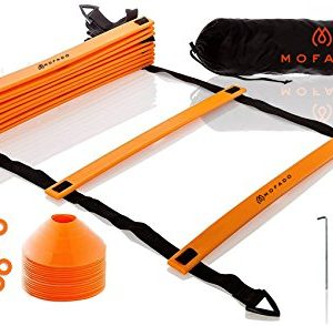 Premium Agility Ladder and Cones – 16 Field Cones – 12 Rung Speed Ladder – 20ft Length – Speed Training Equipment for Football, Soccer & Other Sports – Set of 4 Metal Pegs & Carrying Bag
