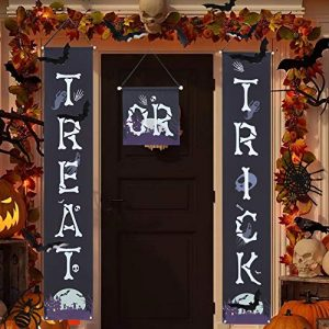 Angela&Alex 3 Pcs Halloween Outdoor Decorations, Trick Or Treat Banner Halloween Hanging Banner Indoor Outdoor Signs for Front Door Home Office Porch Halloween Party Decor(Halloween Welcome Signs)