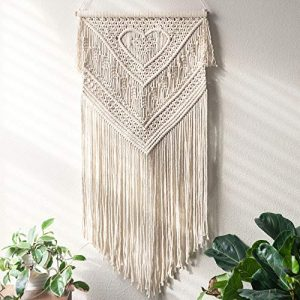 Macrame Wall Hanging Home Decor Art Size 16″ X 35″ – Woven Bohemian Boho Chic Beige Wall Decoration Tapestry for Nursery, House, Dorm Room, Apartment, Party, Wedding Decoration